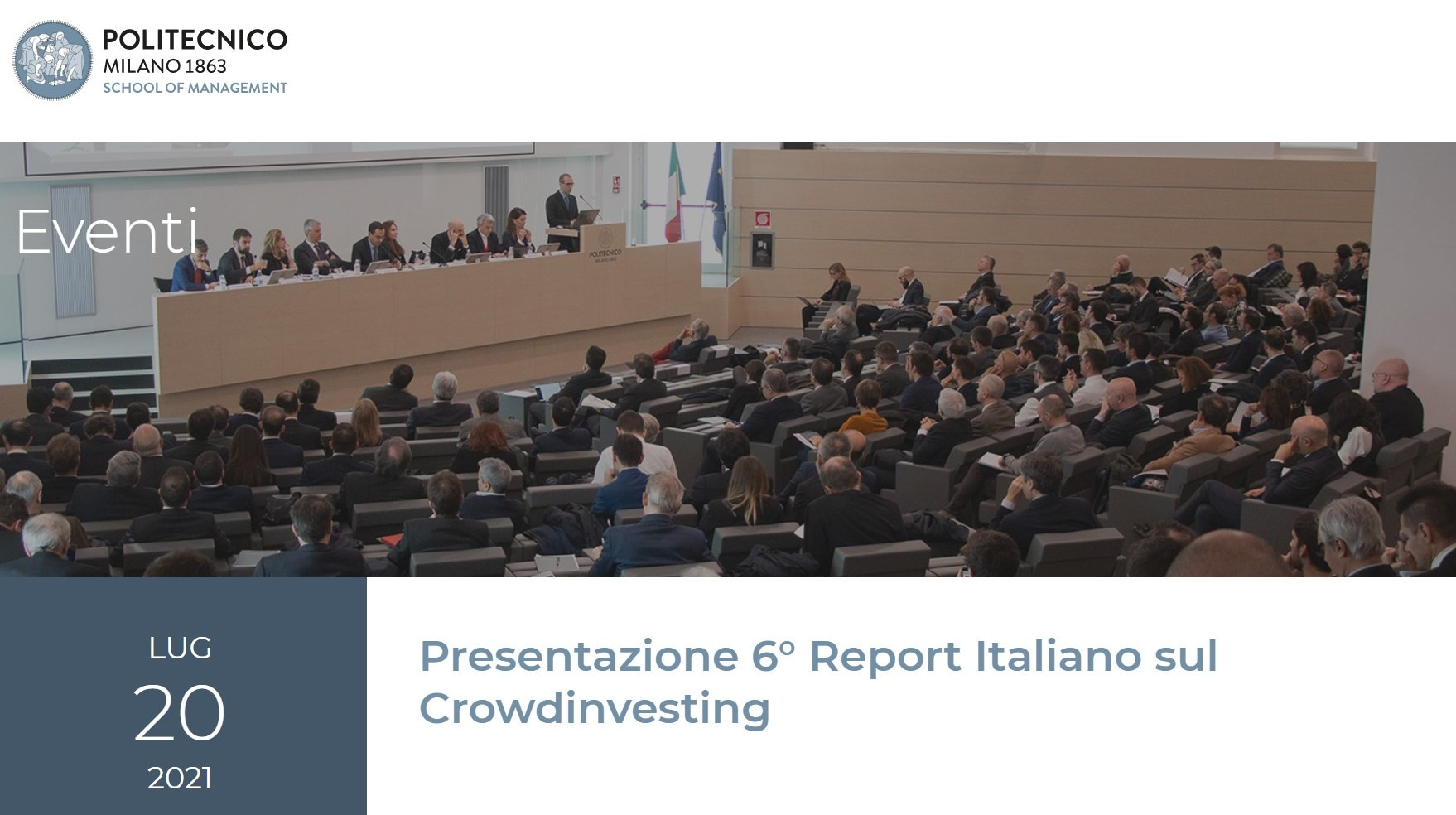 6° Report Italiano sul CrowdInvesting, come seguire la presentazione LIVE